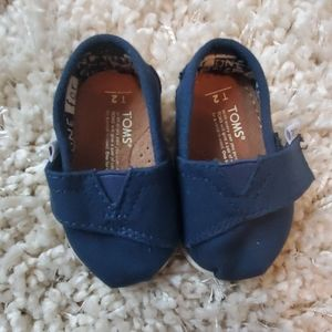 Tiny TOMS Baby/ Infant Canvas Shoes - Navy Size 2